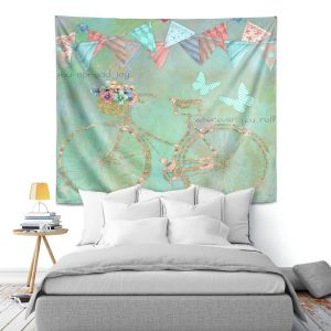 Artistic Wall Tapestry | Tina Lavoie - You Spread Joy | Spring Bicycle Peace Butterfly