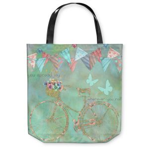 Unique Shoulder Bag Tote Bags | Tina Lavoie - You Spread Joy | Spring Bicycle Peace Butterfly