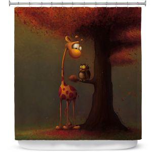 Premium Shower Curtains | Tooshtoosh - Autumn Giraffe
