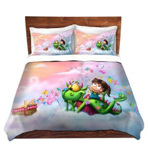 Artistic Duvet Covers and Shams Bedding | Tooshtoosh - Butterflies Picnic in the Sky