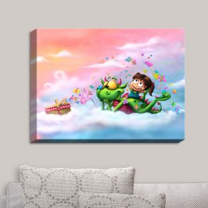 Decorative Canvas Wall Art | Tooshtoosh - Butterflies Picnic in the Sky