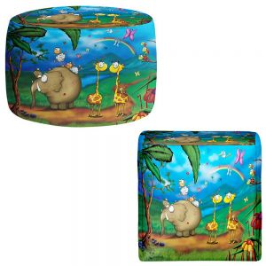 Round and Square Ottoman Foot Stools | Tooshtoosh - Jungle Party