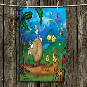 Unique Hanging Tea Towels | Tooshtoosh - Jungle Party | Animals Nature Rainbows Childlike