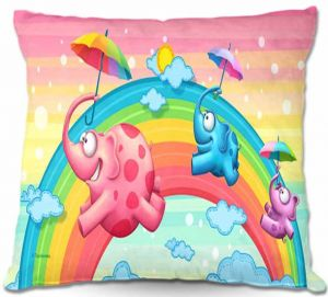 Decorative Outdoor Patio Pillow Cushion | Tooshtoosh - Rainbow Elephants