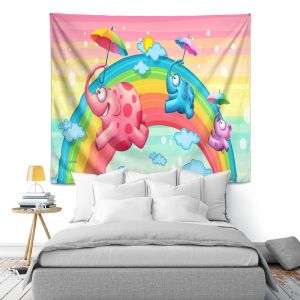 Artistic Wall Tapestry | Tooshtoosh Rainbow Elephants