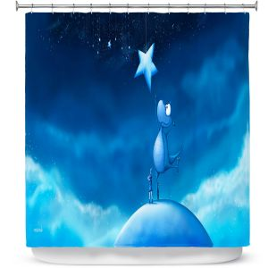 Unique Shower Curtains 71w x 74h Inches from DiaNoche Designs by Tooshtoosh - Reach for a Star