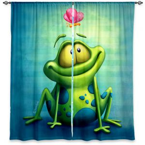 Unique Window Curtain Unlined 60w x 82h from DiaNoche Designs by Tooshtoosh - The Frog II