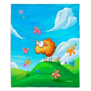 Decorative Fleece Throw Blankets | Tooshtoosh - Wallo the Sheep Blue