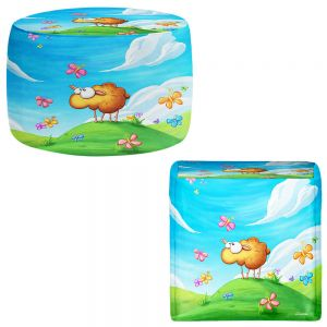 Round and Square Ottoman Foot Stools | Tooshtoosh - Wallo the Sheep Blue