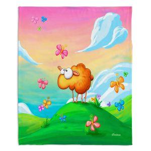 Decorative Fleece Throw Blankets | Tooshtoosh - Wallo the Sheep Pink