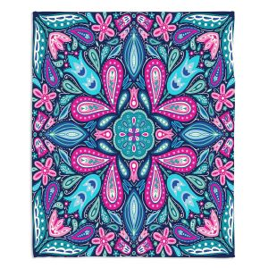 Artistic Sherpa Pile Blankets | Noonday Design - Bright Blue Pink | mandala colorful flower floral