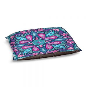 Decorative Dog Pet Beds | Noonday Design - Bright Blue Pink | mandala colorful flower floral