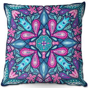 Throw Pillows Decorative Artistic | Noonday Design - Bright Blue Pink | mandala colorful flower floral