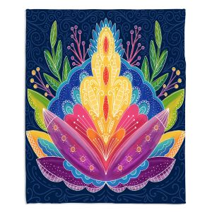 Decorative Fleece Throw Blankets | Noonday Design - Bright Floral | psychedelic flower