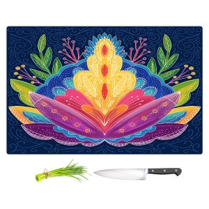Artistic Kitchen Bar Cutting Boards | Noonday Design - Bright Floral | psychedelic flower
