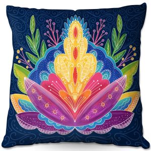 Throw Pillows Decorative Artistic   Noonday Design - Bright Floral   psychedelic flower