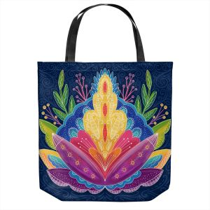 Unique Shoulder Bag Tote Bags | Noonday Design - Bright Floral | psychedelic flower