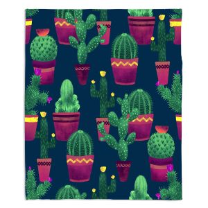 Decorative Fleece Throw Blankets | Noonday Design - Cacti | Cactus Pattern