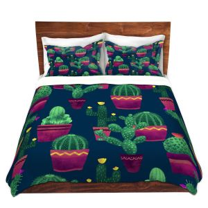 Artistic Duvet Covers and Shams Bedding | Noonday Design - Cacti | Cactus Pattern