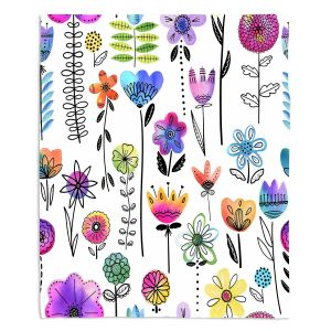 Decorative Fleece Throw Blankets | Noonday Design - Colorful Garden | Flower Floral Pattern