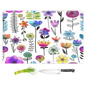 Artistic Kitchen Bar Cutting Boards | Noonday Design - Colorful Garden | Flower Floral Pattern