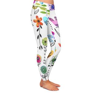 Casual Comfortable Leggings | Noonday Design - Colorful Garden | Flower Floral Pattern