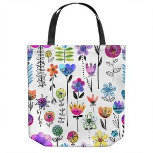 Unique Shoulder Bag Tote Bags | Noonday Design - Colorful Garden | Flower Floral Pattern