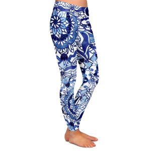 Casual Comfortable Leggings | Noonday Design - Delft Blue Mandalas | Colorful Mandala