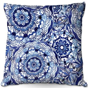 Throw Pillows Decorative Artistic | Noonday Design - Delft Blue Mandalas | Colorful Mandala