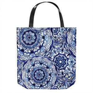 Unique Shoulder Bag Tote Bags | Noonday Design - Delft Blue Mandalas | Colorful Mandala