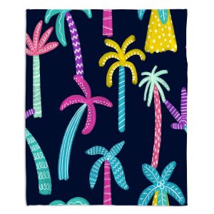 Decorative Fleece Throw Blankets | Noonday Design - Neon trees | Palm Trees Psychedelic