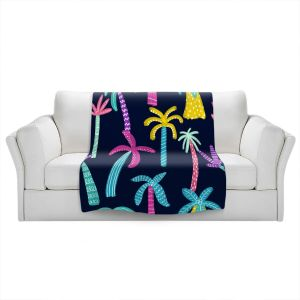 Artistic Sherpa Pile Blankets   Noonday Design - Neon trees   Palm Trees Psychedelic