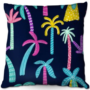 Decorative Outdoor Patio Pillow Cushion | Noonday Design - Neon trees | Palm Trees Psychedelic