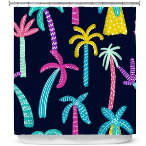 Premium Shower Curtains | Noonday Design - Neon trees | Palm Trees Psychedelic