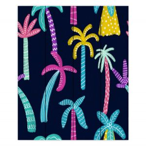 Decorative Wood Plank Wall Art | Noonday Design - Neon trees | Palm Trees Psychedelic
