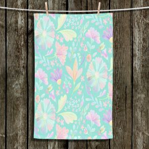 Unique Hanging Tea Towels | Noonday Design - Pastel Floral Turquoise | Colorful Floral Pattern