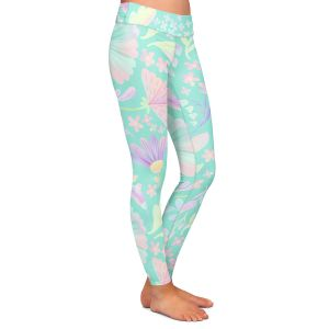 Casual Comfortable Leggings   Noonday Design - Pastel Floral Turquoise   Colorful Floral Pattern