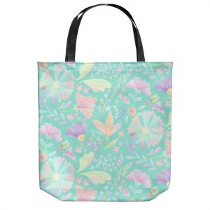 Unique Shoulder Bag Tote Bags | Noonday Design - Pastel Floral Turquoise | Colorful Floral Pattern