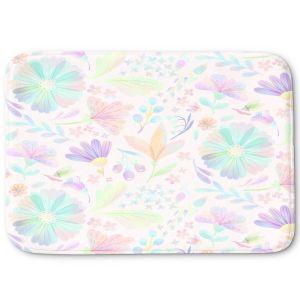 Decorative Bathroom Mats | Noonday Design - Pastel Floral White | Colorful Floral Pattern
