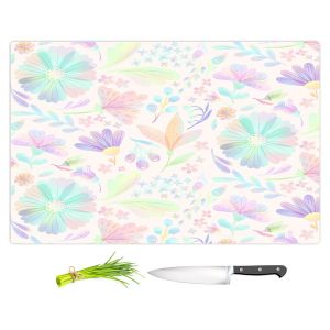 Artistic Kitchen Bar Cutting Boards | Noonday Design - Pastel Floral White | Colorful Floral Pattern