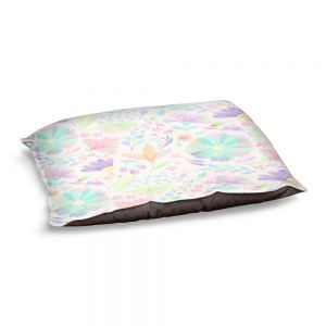 Decorative Dog Pet Beds | Noonday Design - Pastel Floral White | Colorful Floral Pattern