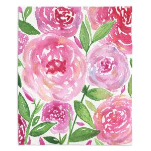 Decorative Fleece Throw Blankets | Noonday Design - Pink Roses | Colorful Floral Pattern