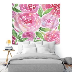 Artistic Wall Tapestry | Noonday Design - Pink Roses | Colorful Floral Pattern