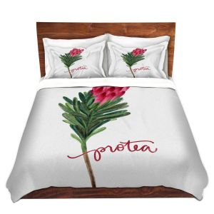 Artistic Duvet Covers and Shams Bedding | Noonday Design - Protea Flower | Colorful Floral Pattern