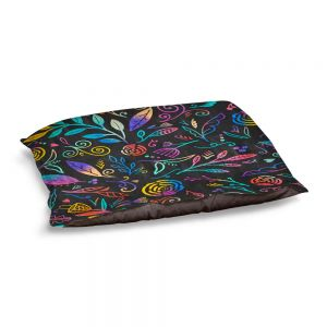 Decorative Dog Pet Beds | Noonday Design - Rainbow Flowers | Mid century Floral Pattern