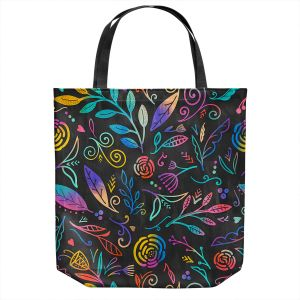 Unique Shoulder Bag Tote Bags | Noonday Design - Rainbow Flowers | Mid century Floral Pattern