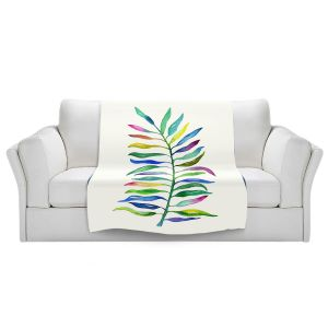 Artistic Sherpa Pile Blankets | Noonday Design - Watercolor Branch | Colorful Floral Pattern