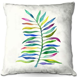 Decorative Outdoor Patio Pillow Cushion | Noonday Design - Watercolor Branch | Colorful Floral Pattern