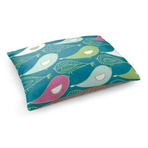 Decorative Dog Pet Beds | Traci Nichole Design Studio - Birds Of A Feather Blue Jay | Patterns Birds Childlike