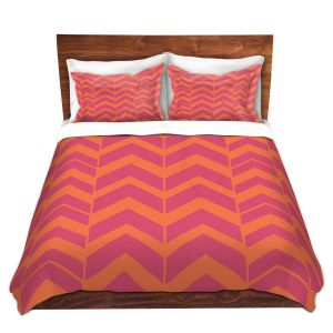 Artistic Duvet Covers and Shams Bedding | Traci Nichole Design Studio - Chevron Berry Citrus